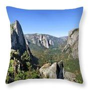Yosemite Valley Panorama From Union And Glacier Points Throw Pillow