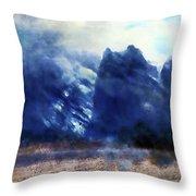 Yosemite Valley Twin Peaks Throw Pillow
