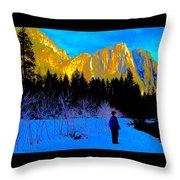 Yosemite Valley Winter Walk Throw Pillow