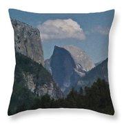 Yosemite View Of El Capitan And Half Dome Throw Pillow
