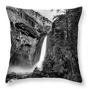 Yosemite Waterfall Bw Throw Pillow