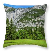 Yosemite West Valley Meadow Panorama #2 Throw Pillow