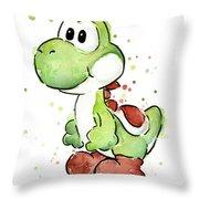 Yoshi Watercolor Throw Pillow by Olga Shvartsur