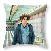 Young American College Student In New York Throw Pillow