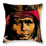 Young Apache Brave Throw Pillow