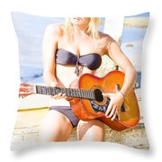 Young Attractive Blonde Woman Playing Guitar Throw Pillow