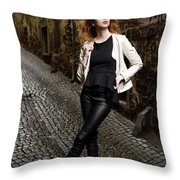 Young Attractive Woman Standing In The Wet Cobblestone Reber All Throw Pillow