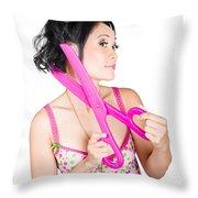Young Beautiful Woman Cutting Hair At Beauty Salon Throw Pillow