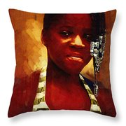 Young Black Female Teen 1 Throw Pillow
