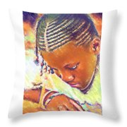 Young Black Female Teen 2 Throw Pillow