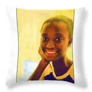 Young Black Female Teen 3 Throw Pillow