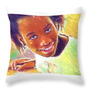 Young Black Female Teen 5 Throw Pillow