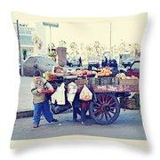 Young Boy Fruit Seller Throw Pillow