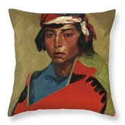 Young Buck Of The Tesuque Pueblo Throw Pillow