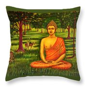 Young Buddha Meditating In The Forest Throw Pillow