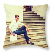 Young Businessman Sitting On Stairs, Relaxing Outside Throw Pillow