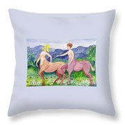 Young Centaurs Throw Pillow