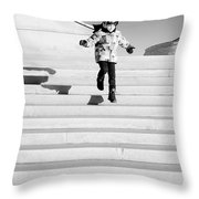 Young Child Jumping Down Steps Throw Pillow