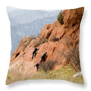 Young Climber In Red Rock Canyon Throw Pillow