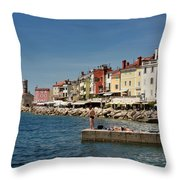 Young Couple Fishing Reading Sunbathing On Dock At Piran Sloveni Throw Pillow