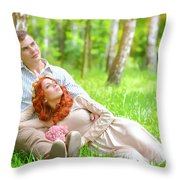 Young Couple In The Park Throw Pillow
