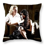 Young Couple Outdoors At A Mansion On A Couch In Harsh High Cont Throw Pillow