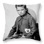 Young Cowboy Sitting Throw Pillow