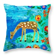 Young Deer Drinking Throw Pillow