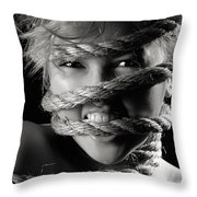 Young Expressive Woman Tied In Ropes Throw Pillow