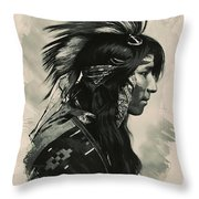 Young Faces From The Past Series By Adam Asar, No 108 Throw Pillow