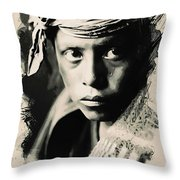 Young Faces From The Past Series By Adam Asar, No 109 Throw Pillow