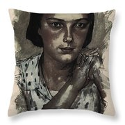 Young Faces From The Past Series By Adam Asar, No 112 Throw Pillow