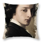 Young Faces From The Past Series By Adam Asar, No 13 Throw Pillow