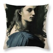 Young Faces From The Past Series By Adam Asar, No 32 Throw Pillow