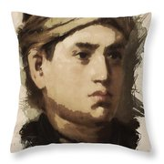 Young Faces From The Past Series By Adam Asar, No 36 Throw Pillow