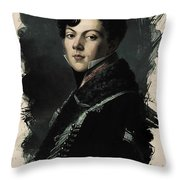 Young Faces From The Past Series By Adam Asar, No 74 Throw Pillow
