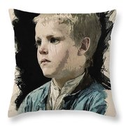 Young Faces From The Past Series By Adam Asar, No 77 Throw Pillow