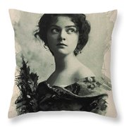 Young Faces From The Past Series By Adam Asar, No 82 Throw Pillow