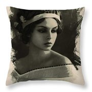 Young Faces From The Past Series By Adam Asar, No 92 Throw Pillow