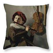 Young Flute Player , Judith Leyster, 1630 Throw Pillow