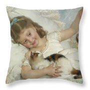 Young Girl And Cat Throw Pillow