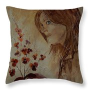 Young Girl And Flowers  Throw Pillow