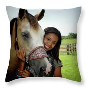 Young Girl And Her Horse Throw Pillow