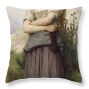 Young Girl, By William-adolphe Bouguereau Throw Pillow