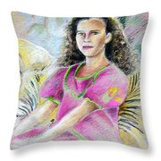 Young Girl From Tahiti Throw Pillow