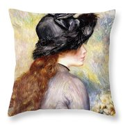 Young Girl Holding A Bouquet Of Tulips, Throw Pillow
