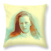 Young Girl In High Collared White Blouse Throw Pillow
