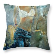 Young Girl In Jeans  Throw Pillow