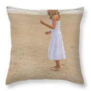 Young Girl On Beach Throw Pillow