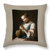 Young Girl Playing Musical Instrument Throw Pillow